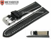 Watch strap XL Sanford 24mm black leather alligator grain light stitching by MEYHOFER (width of buckle 22 mm)