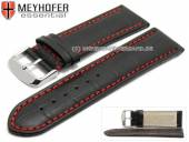 Watch strap Petare Special 28mm black leather alligator grain red stitching by MEYHOFER (width of buckle 26 mm)