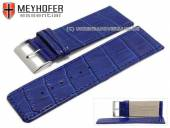 Watch strap Campinas 30mm cobalt blue leather alligator grain stitched by MEYHOFER (width of buckle 28 mm)