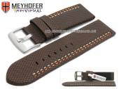 Watch strap Oldenburg 26mm dark brown synthetic textile look 2 colour double stitched MEYHOFER (width of buckle 26 mm)