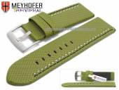 Watch strap Oldenburg 26mm green synthetic textile look 2 coloured double stitching MEYHOFER (width of buckle 26 mm)