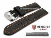 Watch strap Lanark 19mm black leather grained matt orange stitching by MEYHOFER (width of buckle 18 mm)