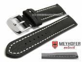Watch strap Lanark 17mm black leather grained matt light stitching by MEYHOFER (width of buckle 16 mm)