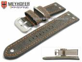 Watch strap Ansbach 22mm antique-black leather aviator look orange stitching by MEYHOFER (width of buckle 20 mm)