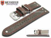 Watch strap Ansbach 22mm antique-black leather aviator look red stitching by MEYHOFER (width of buckle 20 mm)