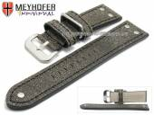 Watch strap Ansbach 22mm antique-black leather aviator look black stitching by MEYHOFER (width of buckle 20 mm)
