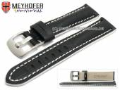 Watch strap Estero 21mm black leather alligator grain white stitching by MEYHOFER (width of buckle 20 mm)
