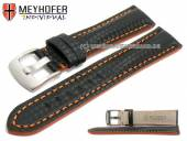 Watch strap Rheinsberg 21mm black leather sporty carbon look orange stitching by MEYHOFER (width of buckle 20 mm)