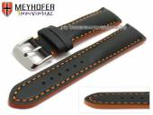 Watch strap Paracatu 21mm black leather smooth orange stitching by MEYHOFER (width of buckle 20 mm)