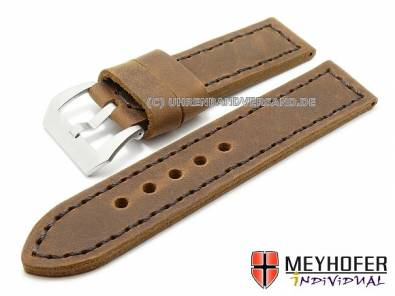 Watch straps -Trondheim- antique-look calfskin strong stitching from MEYHOFER - Bild vergrößern