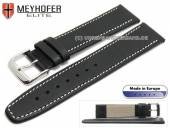 Watch strap Stendal 17mm black leather grained light stitching by MEYHOFER (width of buckle 14 mm)