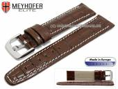 Watch strap Leesburg 23mm brown leather alligator grain light stitching by MEYHOFER (width of buckle 20 mm)