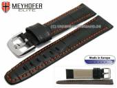 Watch strap L (long) Lakeland 20mm black leather alligator grain orange stitching by MEYHOFER (width of buckle 18 mm)