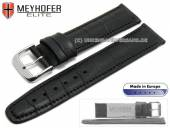 Watch strap Weston 18mm black leather alligator grain stitched by MEYHOFER (width of buckle 18 mm)