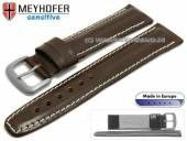 Watch strap 20mm Piran dark brown leather vegetable tanned light stitching by MEYHOFER (width of buckle 18 mm)