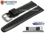 Watch strap 22mm Piran black leather vegetable tanned light stitching by MEYHOFER (width of buckle 20 mm)