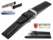 Watch strap L (long) Carpi 20mm black grained light stitching with clasp by MEYHOFER (width of clasp 18 mm)