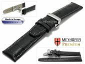 Watch strap Merano 20mm black alligator grain grey stitching with clasp MEYHOFER (width of clasp 18 mm)