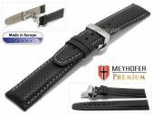 Watch strap Ferrara 20mm black leather perforated light stitching with clasp by MEYHOFER (width of clasp 18 mm)