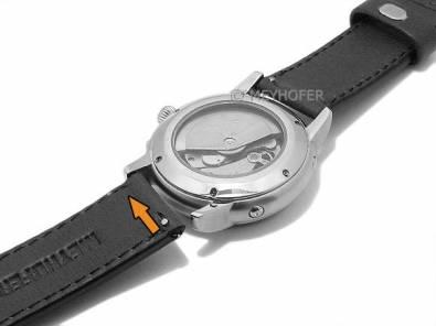 Meyhofer EASY-CLICK watch strap -Burgau- 26mm anthracite leather smooth surface light stitching (width of buckle 26 mm) - Bild vergrößern