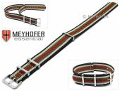 Watch strap Durham 22mm black synthtic/textile beige green red stripes NATO style one-piece strap by MEYHOFER
