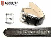 Leather Belt Pretoria BLT black alligator grain light stitching  90cm (S) by MEYHOFER