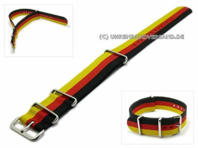 NATO One-piece strap black/red/golden textile - Bild vergrößern