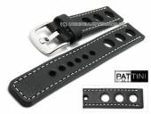 Watch strap 19mm black leather racing look robust matt light stitching by PATTINI (width of buckle 20 mm)