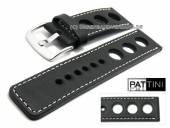 Watch strap 26mm black leather racing look robust matt light stitching by PATTINI (width of buckle 26 mm)