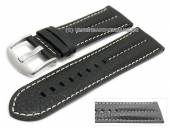 Watch strap XL 26mm black buffalo leather military-look light stitching (width of buckle 24 mm)