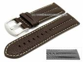 Watch strap XL 26mm dark brown buffalo leather military-look light stitching (width of buckle 24 mm)