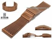 Watch strap 24mm short mesh copper brown polished robust structure with security clasp by STAIB