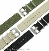 Military-look watch strap textile/leather by CAMPAGNOLO