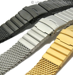 Watch band mesh brushed robust structure in silver, black and golden coloured