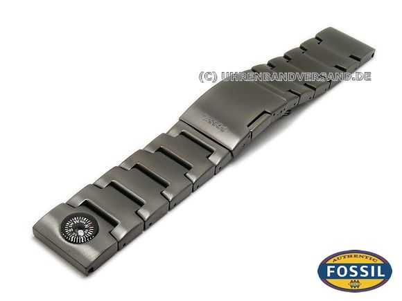 Watch Strap Original Replacement FOSSIL 24mm Black Stainless Steel