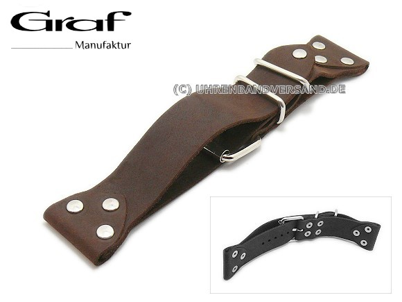 Graf Alfa watch strap dark brown silver rivets