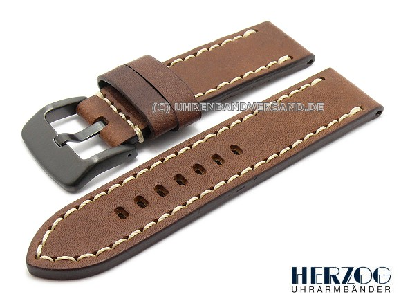 Hz-LC04 Watch Strap 22/24 mm, brown with white stitching