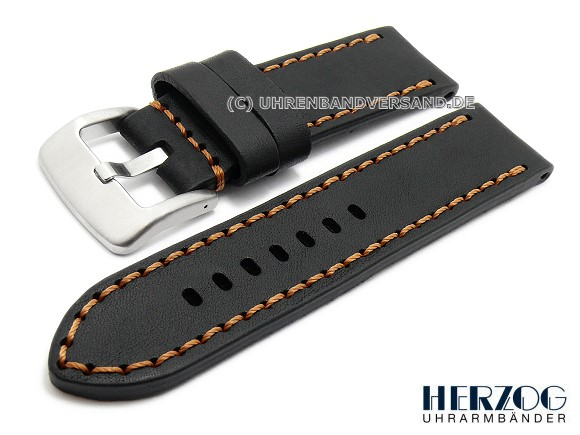 Hz-LC04 Watch Strap 22/24 mm, black with brown stitching