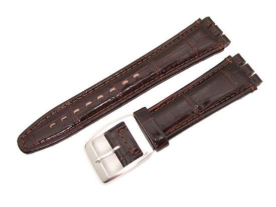 watch band alligator big for swatch 19mm dark brown