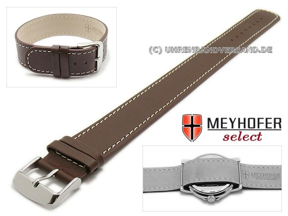 Prag Watch Strap from the brand Meyhofer in dark brown with light contrast stitching