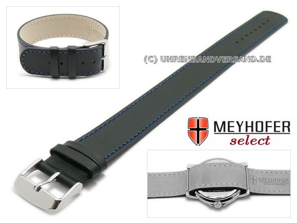 Prag Watch Strap from the brand Meyhofer in black with blue stitching
