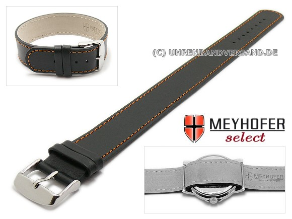 Prag Watch Strap from the brand Meyhofer in black with orange stitching