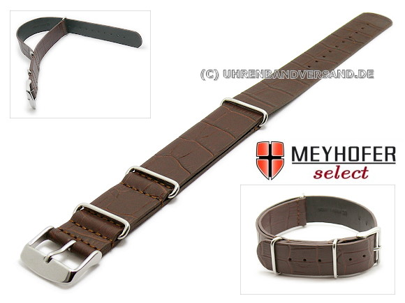 Nato Style watch strap Maracay from the brand Meyhofer, dark brown
