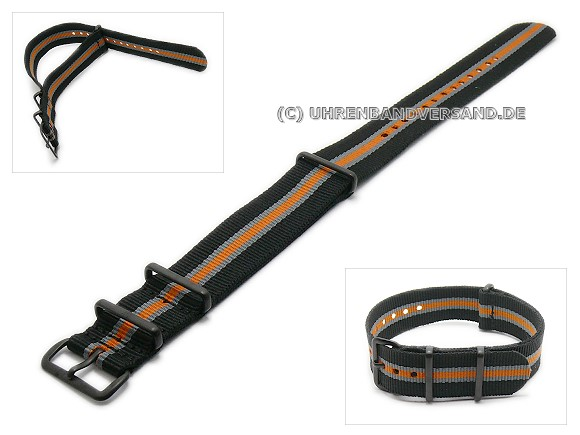 Pt-KB57B Watch Strap black, grey, orange