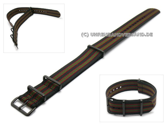Pt-KB36B Watch Strap black, red, green