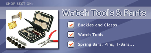 Watch tools and parts, buckles, clasps, spring bars...