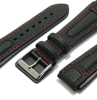 Aviator-Watch strap \-Chronissimo\- with leather pad under buckle by DI-MODELL