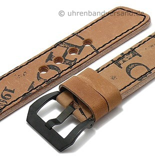 Antique leather watch strap \-Austin\- cordovan leather black stitching from MEYHOFER