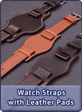 Watch straps with leather pads, Cuff watch straps