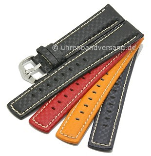 Watch band carbon look calf´s leather contrast stitching from HIRSCH